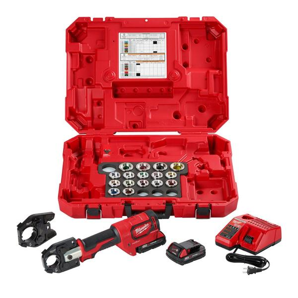 M18 18-Volt Lithium-Ion Cordless FORCE LOGIC 600 MCM Crimper Kit with 750 MCM Expanded Jaw