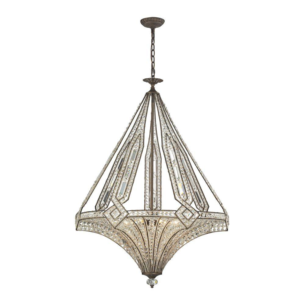 Jausten 7-Light Antique Bronze Chandelier With Metal And Crystal Shade