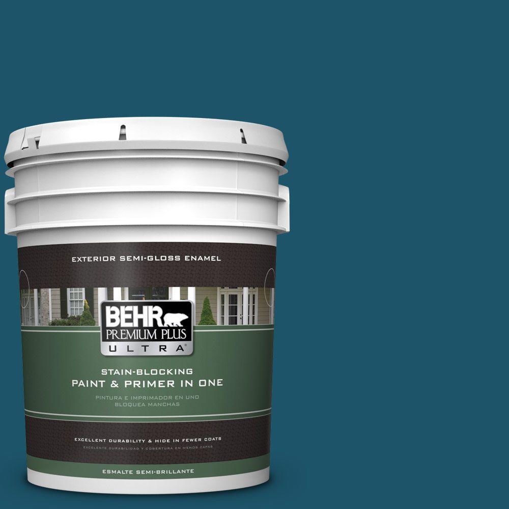 BEHR Premium Plus Ultra 5-gal. #S-H-540 Quiet Storm Semi-Gloss Enamel Exterior Paint