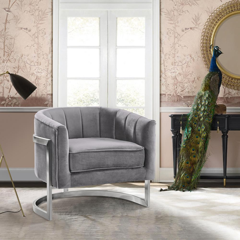 Armen living kamila grey velvet and brushed stainless steel contemporary accent chair