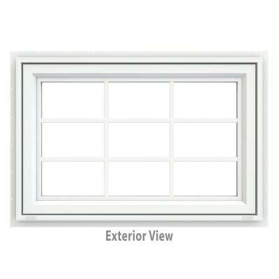35.5 in. x 29.5 in. V-4500 Series White Vinyl Awning Window with Colonial Grids/Grilles
