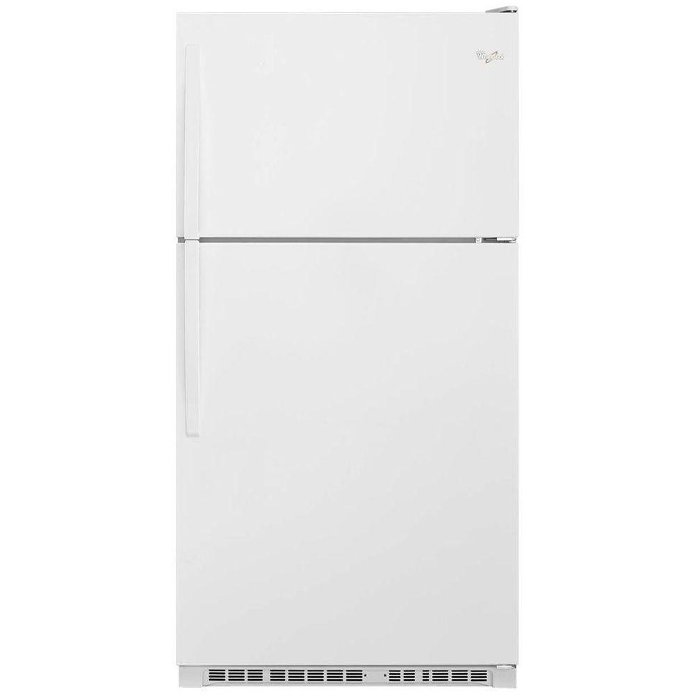 white refrigerator. top freezer refrigerator in white o