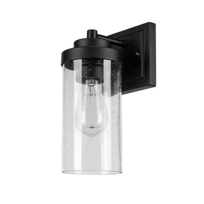Axel 1-Light Outdoor Indoor Wall Sconce, Matte Black, Seeded Glass Shade