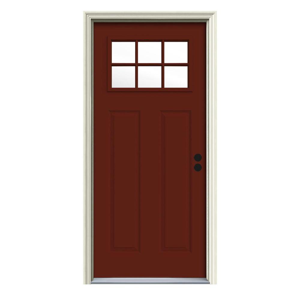 32 in. x 80 in. 6 Lite Craftsman Mesa Red Painted Steel Prehung Left-Hand Inswing Front Door w/Brickmould