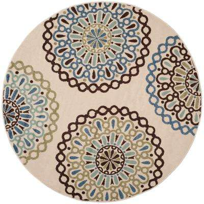 Veranda Cream/Blue 7 ft. x 7 ft. Indoor/Outdoor Round Area Rug