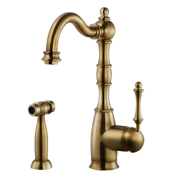 Regal Traditional Kitchen Faucet with Sidespray and CeraDox Technology, Antique Brass (REGSS-181-AB)
