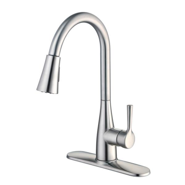 Glacier Bay Sadira Single Handle Pull Down Sprayer Kitchen Faucet With Turbospray And Fastmount In Stainless Steel Hd67726w 1508d2 The Home Depot