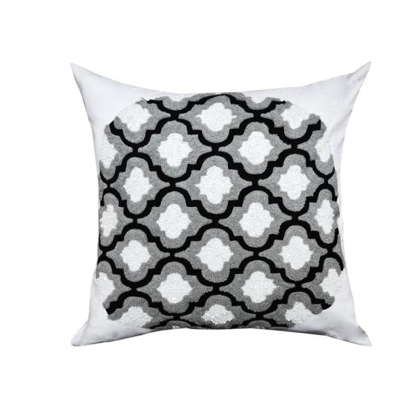 A1HC Erika Black Grey and White Ogee Throw Pillow A1BW004