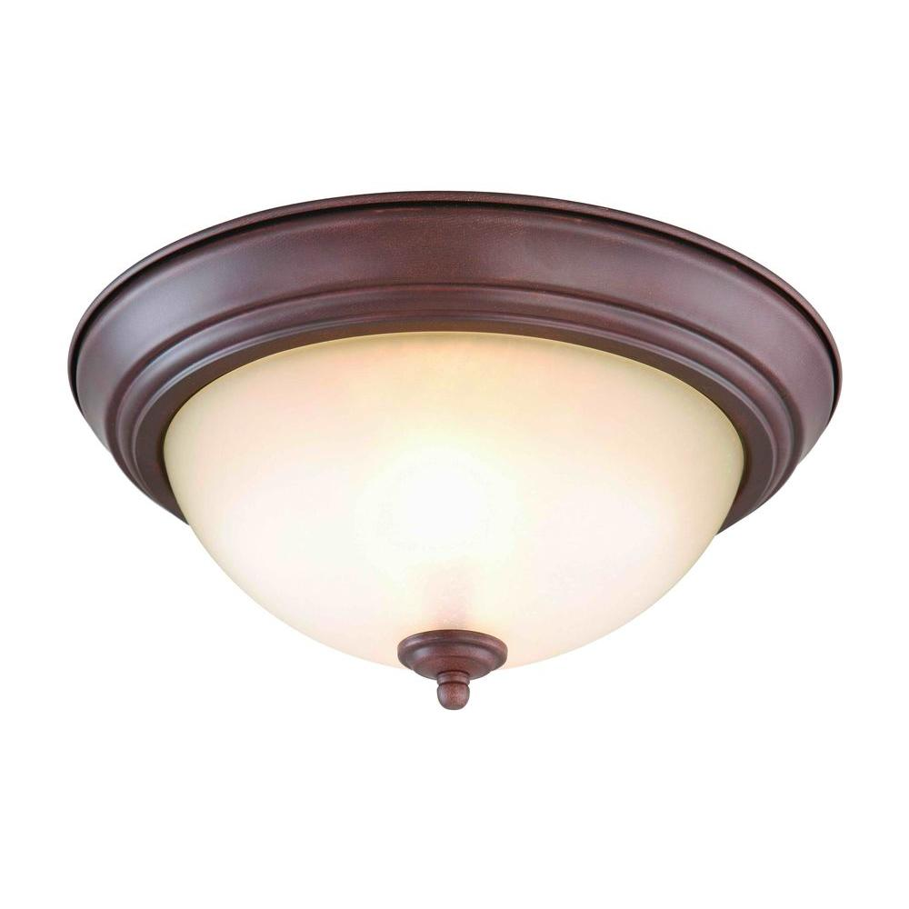 Commercial Electric 2-Light Nutmeg Flush Mount (Set of 2)