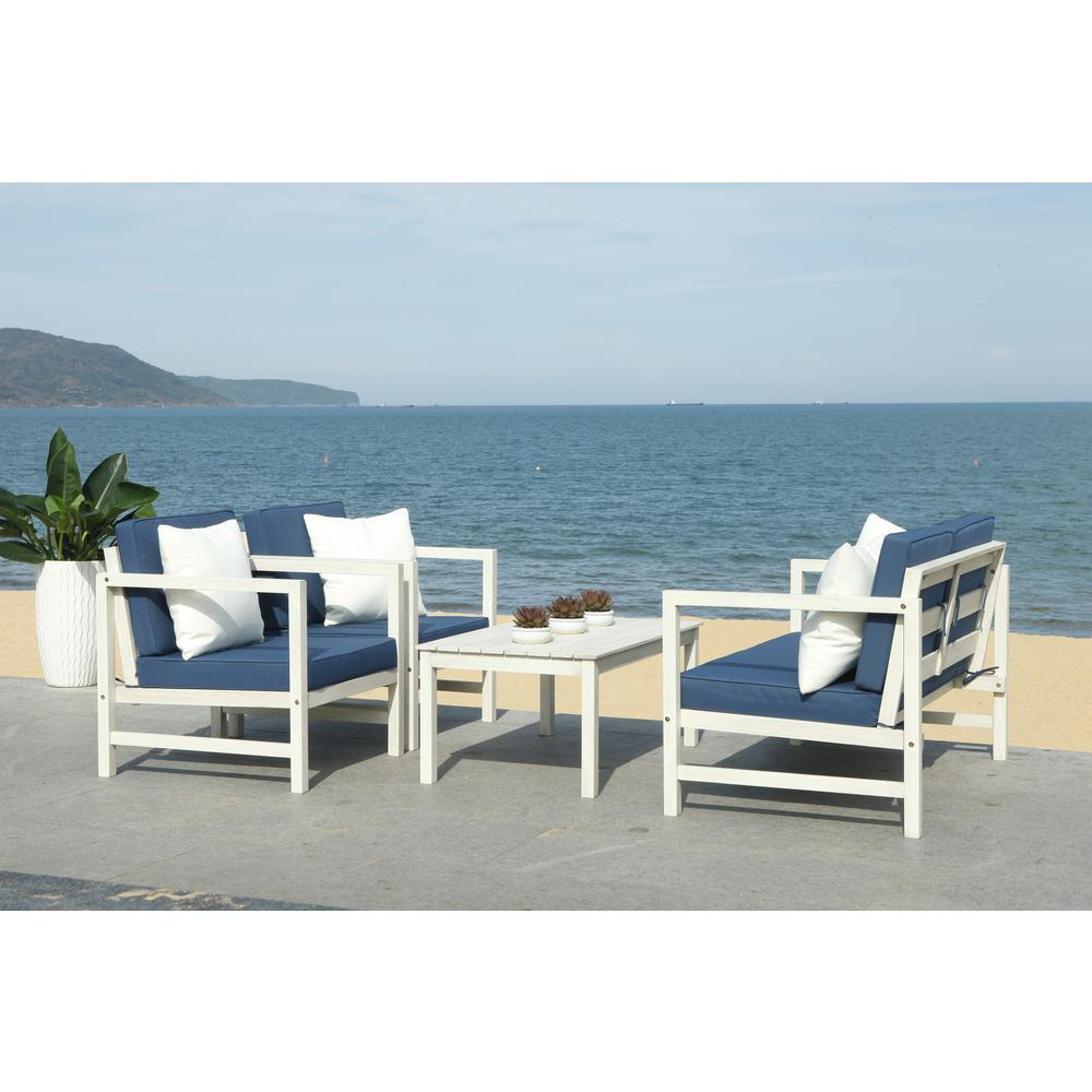 Safavieh Montez White 4-Piece Wood Patio Conversation Set ... on Safavieh Outdoor Living Montez 4 Piece Set id=82888
