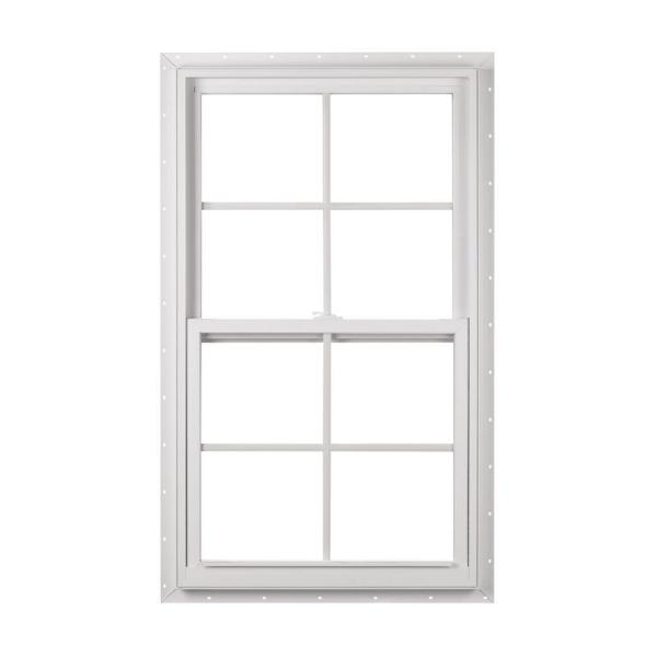 23.375 in. x 35.25 in. 50 Series Single Hung White Vinyl Window with Nailing Flange and Colonial Grilles