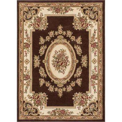 Timeless Le Petit Palais Brown 7 ft. 10 in. x 10 ft. 6 in. Traditional Medallion Area Rug