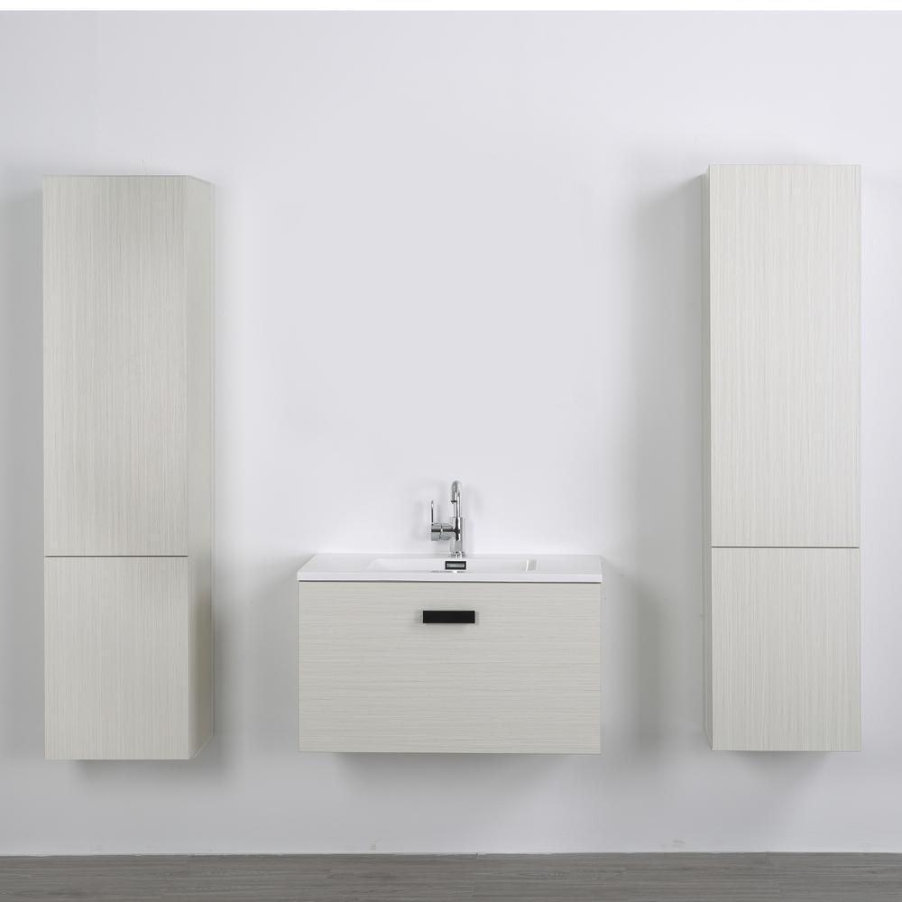 Streamline 31.5 in. W x 18.1 in. H Bath Vanity in Gray with Resin Vanity Top in White with White Basin