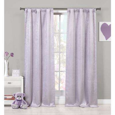 Solid Lavender Polyester Blackout Grommet Window Curtain - 37 in. W x 84 in. L (2-Pack)