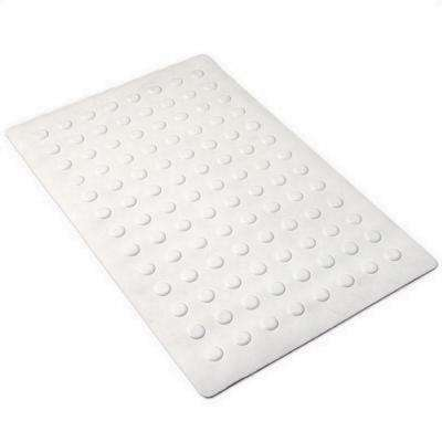 14 in. x 22 in. Medium Rubber Safety Bath Mat with Microban in White