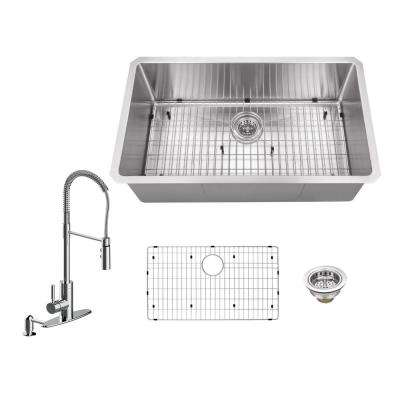 All-in-One Undermount Stainless Steel 32 in. Single Bowl Kitchen Sink with Polished Chrome Kitchen Faucet