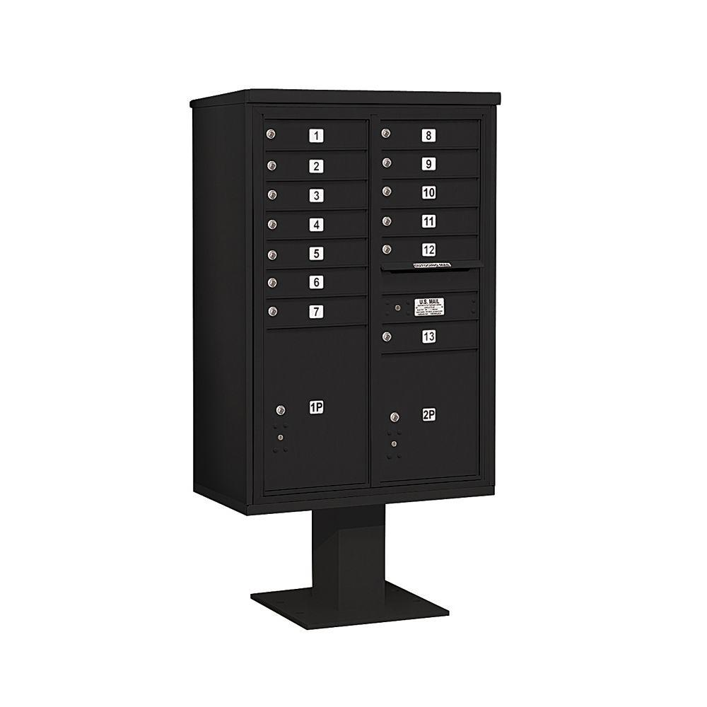 Salsbury Industries 3400 Series 63-1/4 in. 13 Door High Unit Black 4C Pedestal Mailbox with 13 MB1 Doors/1 PL5 and 1 PL6