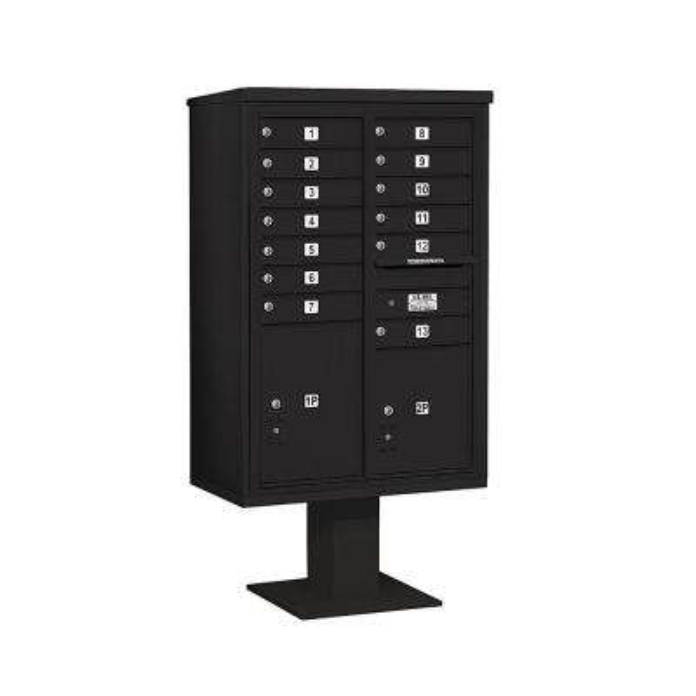 3400 Series 63-1/4 in. 13 Door High Unit Black 4C Pedestal Mailbox with 13 MB1 Doors/1 PL5 and 1 PL6