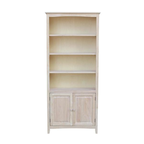International Concepts Brooklyn Unfinished Shaker Bookcase with Doors