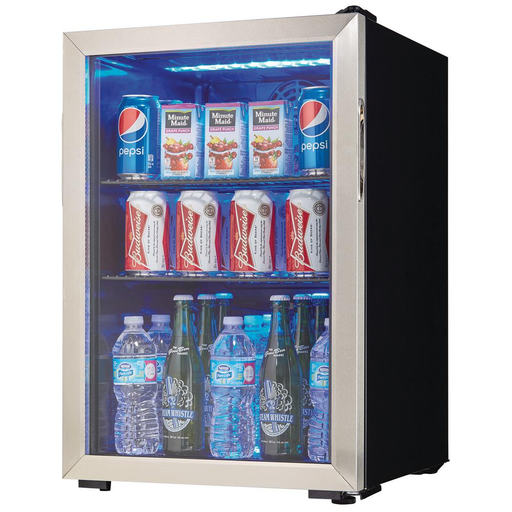 Danby 17 5 In 95 12 Oz Can 2 6 Cu Ft Free Standing Cooler Dbc026a1bssdb The Home Depot