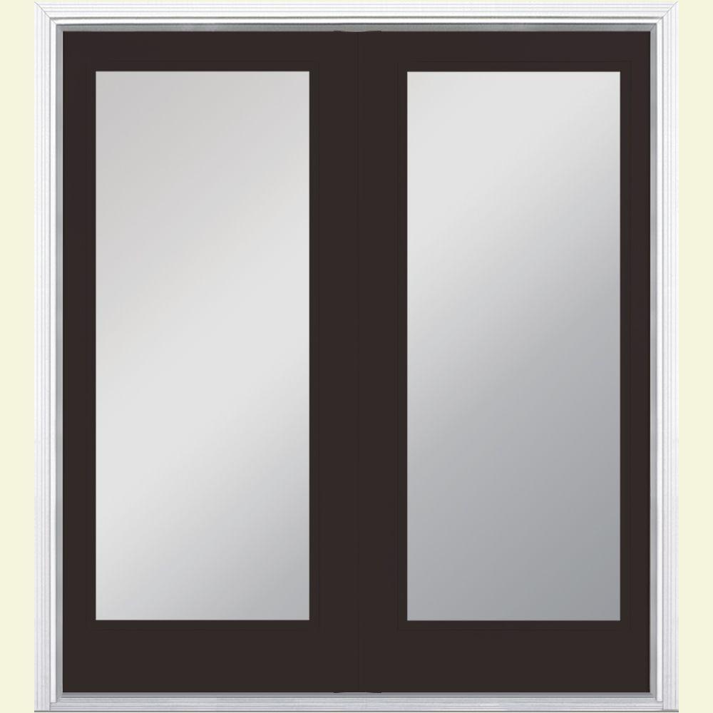 Masonite 60 in. x 80 in. Willow Wood Prehung Right-Hand Inswing Full Lite Steel Patio Door with Brickmold in Vinyl Frame