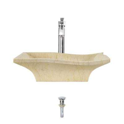 Stone Vessel Sink in Egyptian Yellow Marble with 726 Faucet and Pop-Up Drain in Chrome