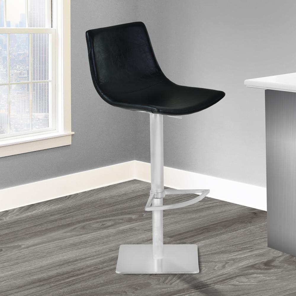 Delightful Armen Living Attica 21 31 In. Vintage Black Faux Leather And Brushed  Stainless Steel