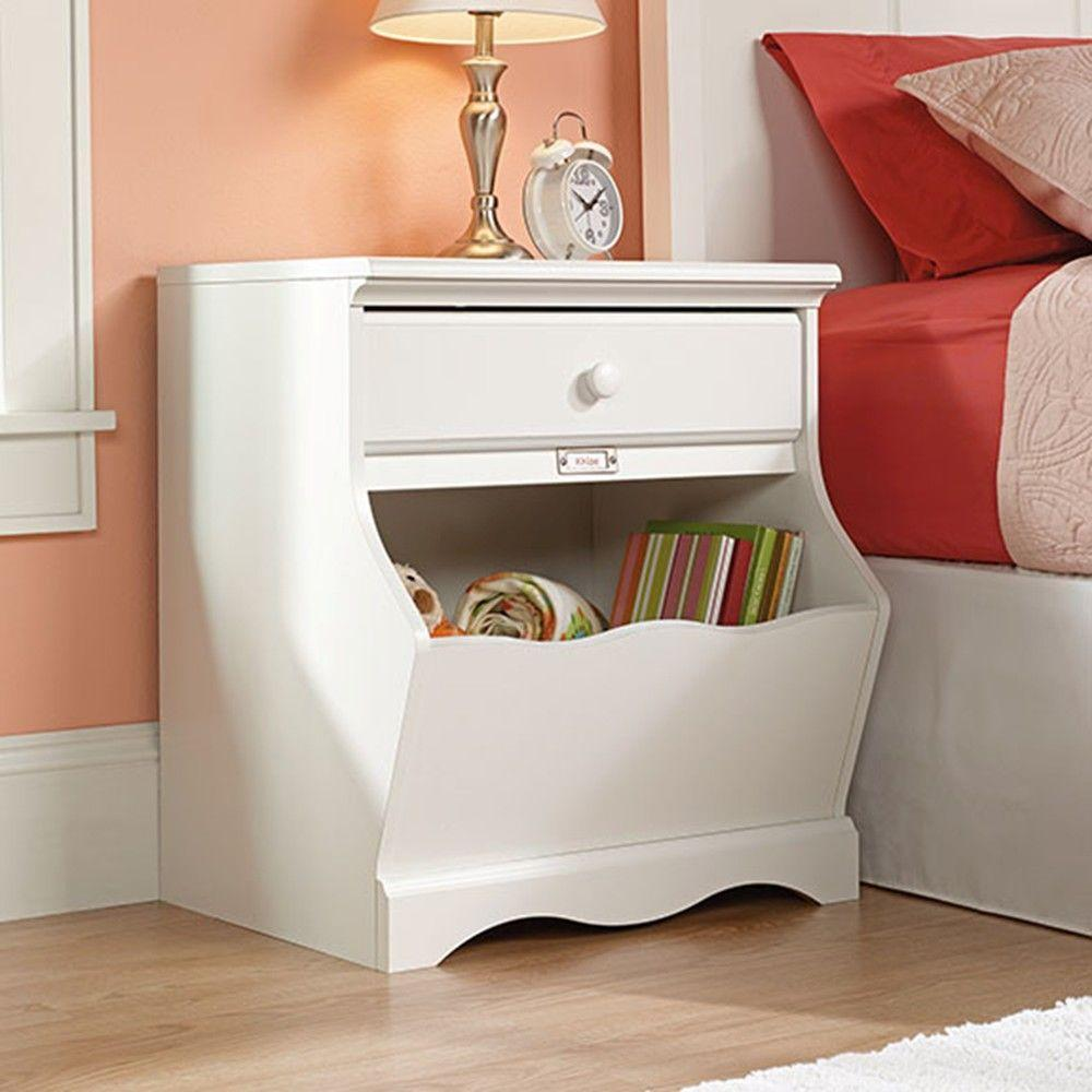 SAUDER Pogo 1-Drawer Soft White Nightstand