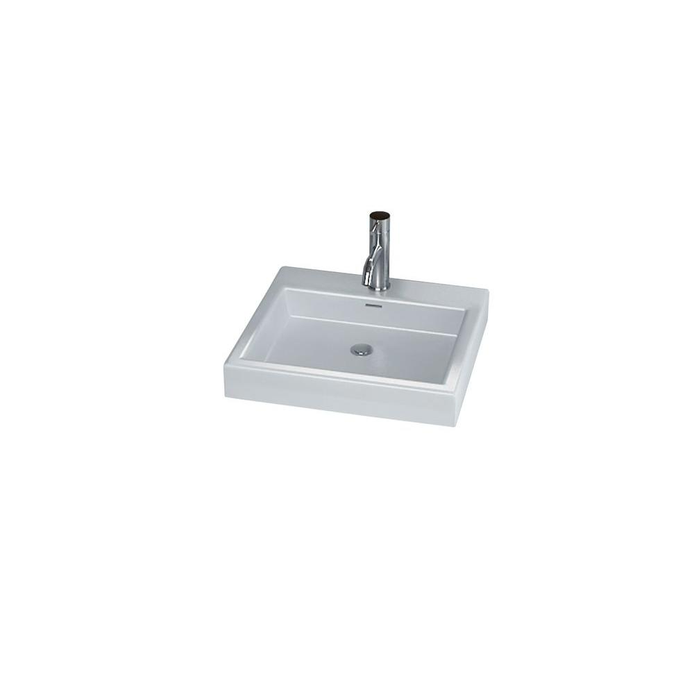 Cantrio Rectangular Vessel Sink in White