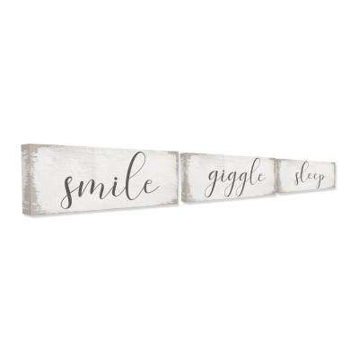 "10 in. x 24 in. ""Smile Giggle Sleep White Wood Look"" by Daphne Polselli Canvas Wall Art (3-Piece)"