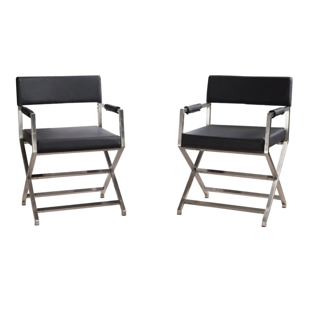 Surprising Noble House Vesper Modern Black Leather Armchairs With Inzonedesignstudio Interior Chair Design Inzonedesignstudiocom