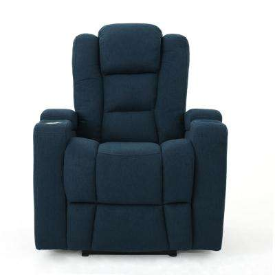 Emersyn Navy Blue Fabric Motor-Powered Recliner with Arm Storage and USB Port