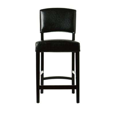 24 in. Black Cushioned Counter Stool with Back