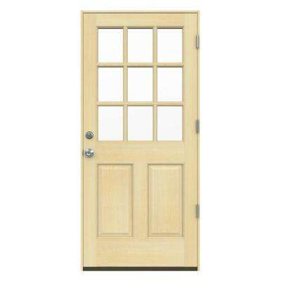 Delightful 9 Lite Unfinished Hemlock Prehung Front Door With AuraLast Jamb