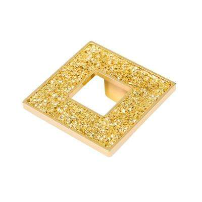 Swarovski Crystal Collection 2.5 in. Gold and Crystal Square Cabinet Pull