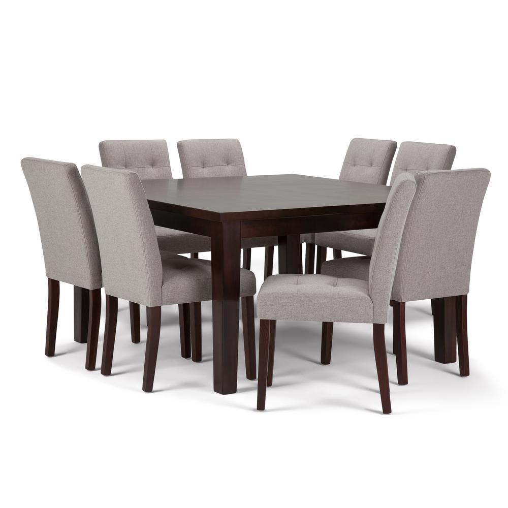 Andover 9 Piece Dining Set With 8 Upholstered Chairs In Cloud Grey Linen Look Fabric And 54 Wide Table