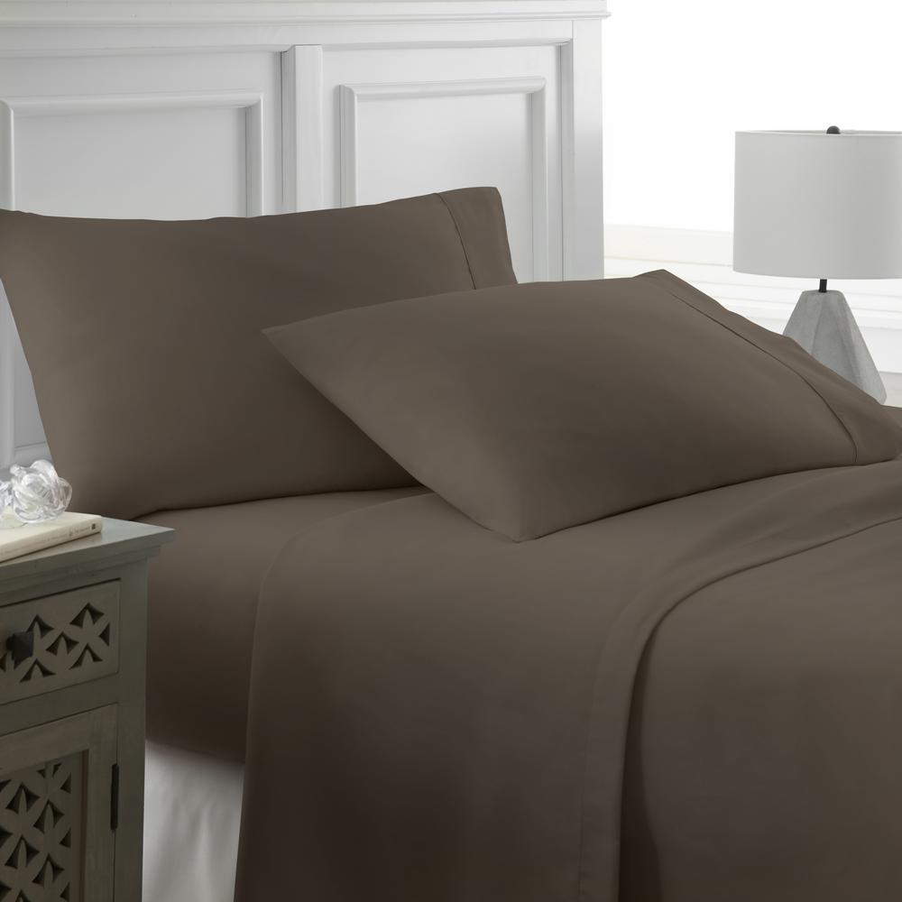 Becky Cameron Performance Chocolate Twin 4 Piece Bed Sheet Set Ieh 4pc Ch The Home Depot