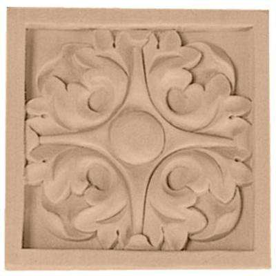 5-1/8 in. x 7/8 in. x 5-1/8 in. Unfinished Wood Cherry Large Leaf Rosette