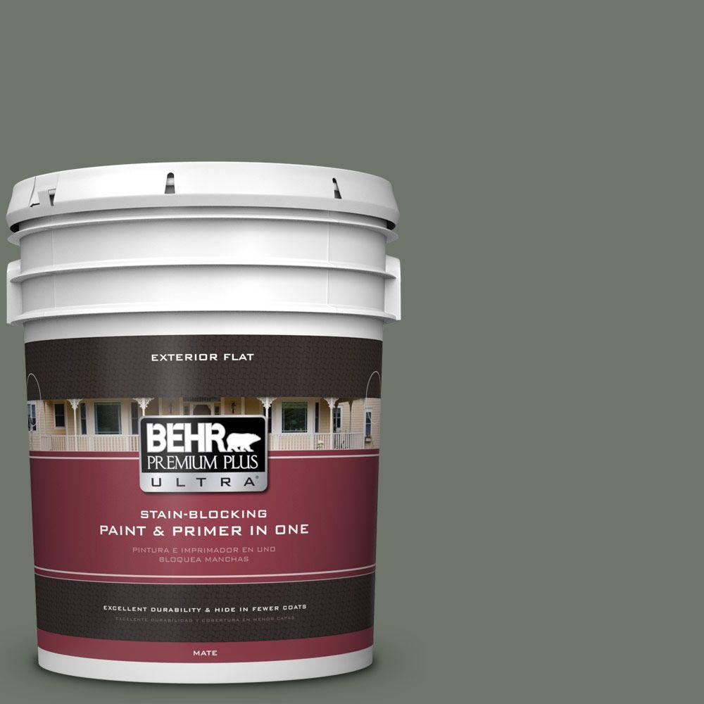 5-gal. #BXC-72 Evergreen Trail Flat Exterior Paint