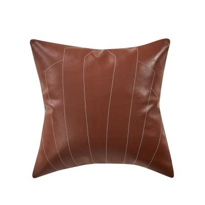 Alexander Brown Plaid Polyester 18 in. x 18 in. Throw Pillow