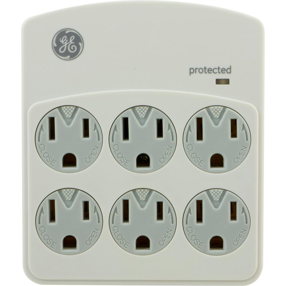 GE 6-Outlet Surge Protector in Wall 312 Joules, Grey