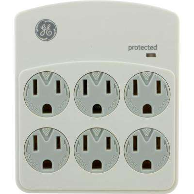 6-Outlet Surge Protector in Wall 312 Joules, Grey