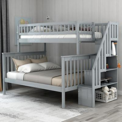 Harper & Bright Designs Gray Twin Over Full Stairway Bunk Bed