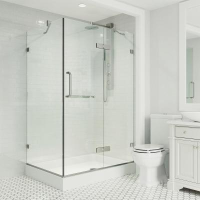 Monteray 48.125 in. x 79.25 in. Frameless Hinged Shower Door in Brushed Nickel and Clear Glass with Right Base