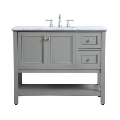 Timeless Home 42 in. W x 22 in. D x 33.75 in. H Single Bathroom Vanity in Grey with Carrara White Marble and White Basin