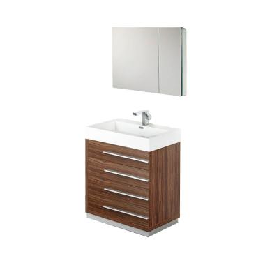 Livello 30 in. Vanity in Walnut with Acrylic Vanity Top in White with White Basin and Mirrored Medicine Cabinet