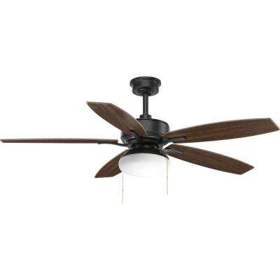 Billows Collection 52 in. LED Indoor Forged Black Ceiling Fan with Light Kit