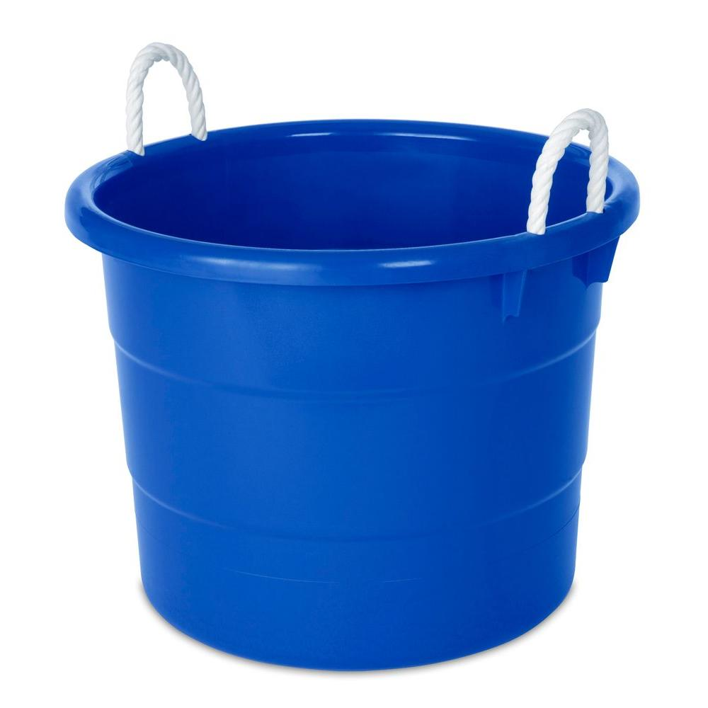 hdx 18 gal tub with rope handle in blue the home depot. Black Bedroom Furniture Sets. Home Design Ideas