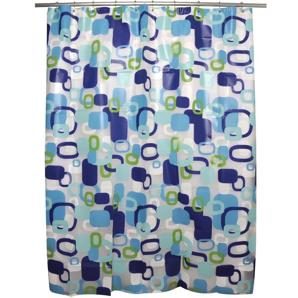 Hip Squares Blue Shower Curtain