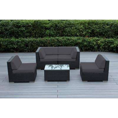 Ohana Black 5-Piece Wicker Patio Seating Set with Spuncrylic Gray Cushions